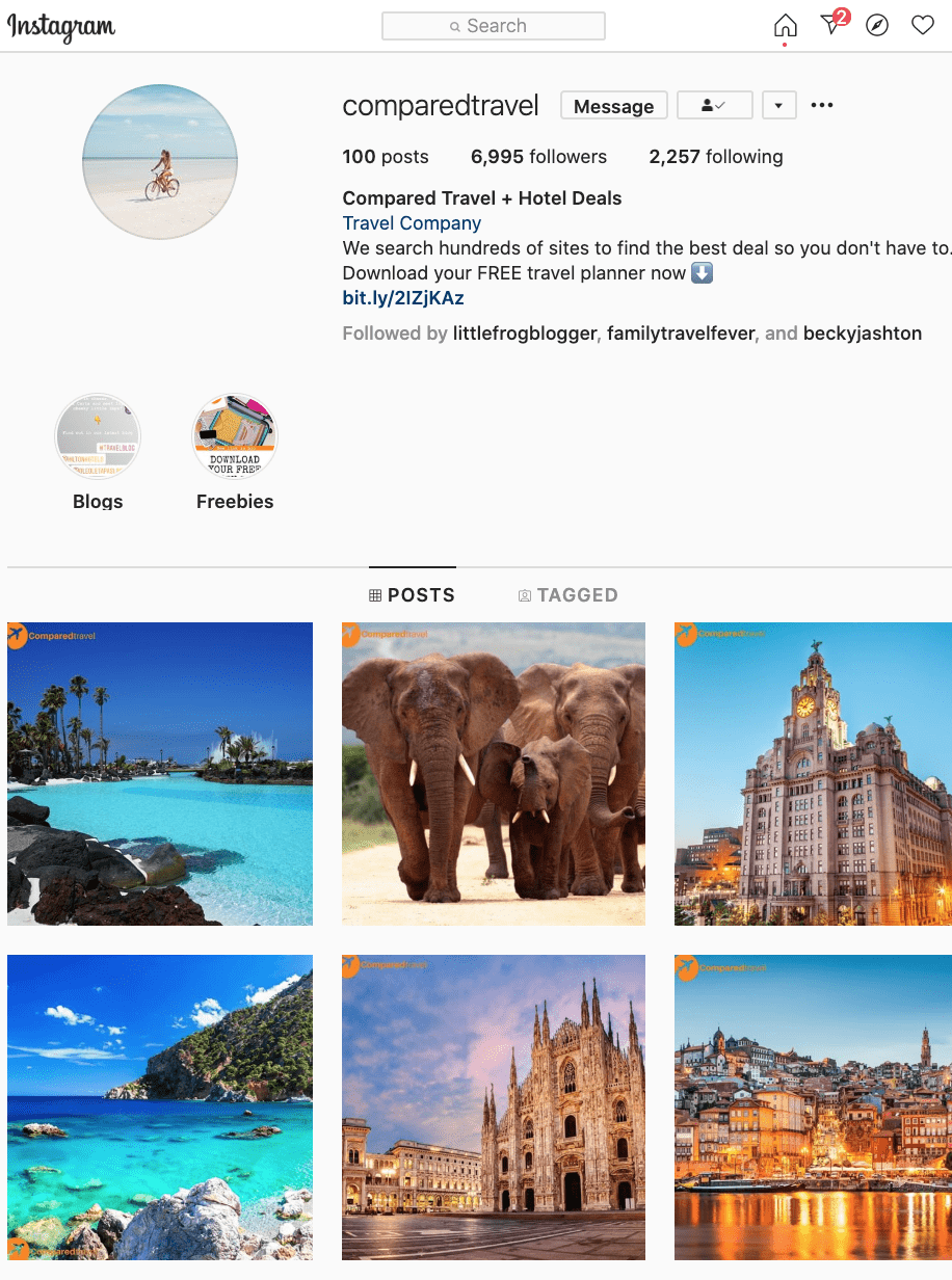 travel booking website for sale instagram