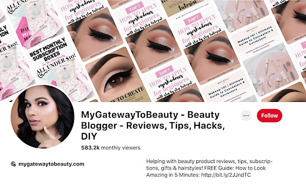 beauty blog for sale pinterest account