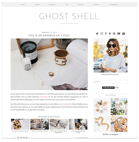 lifestyle blog for sale pipdig ghostshell theme