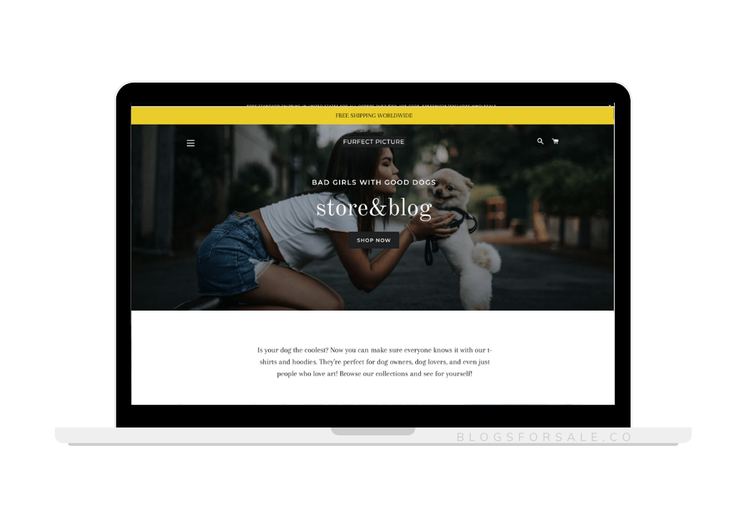 dog lover blog and ecommerce site for sale