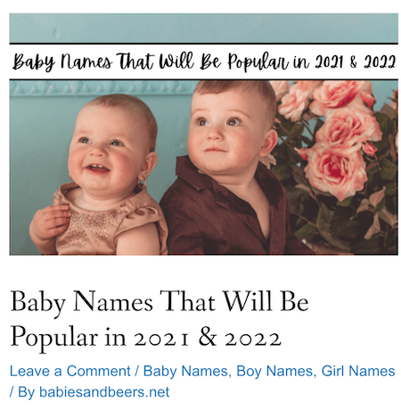 popular baby names niche site for sale