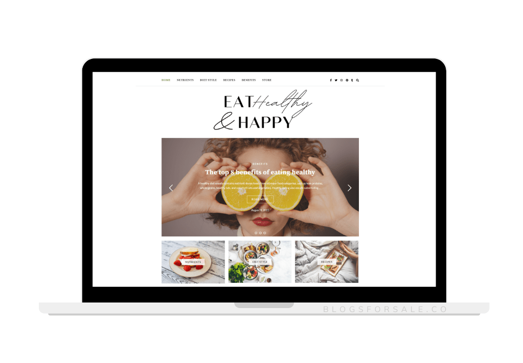eat healthy and happy blog for sale